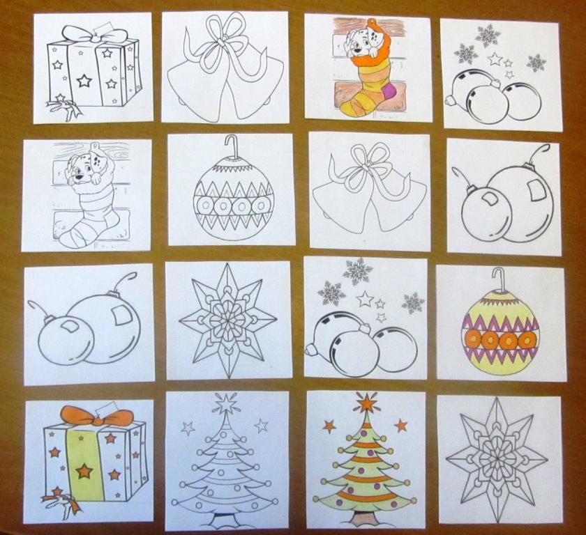 Карточная игра Мемори Зима раскраска